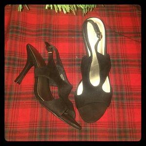 Black cut-out heels